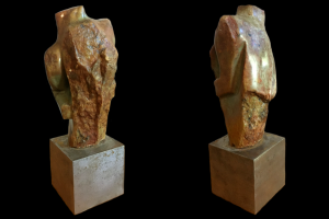"""Him"". Lemon opal w /metal base. 3.25"" W x 3"" L x 11"" H. Available. © 2005 Ellza Coyle."