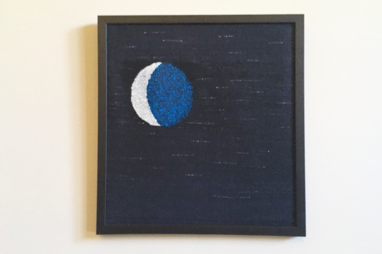 """""""Silver Slice"""". Wool, cotton, synthetic fiber. 17"""" W x 19"""" L. Private Collection. ©Ellza Coyle."""