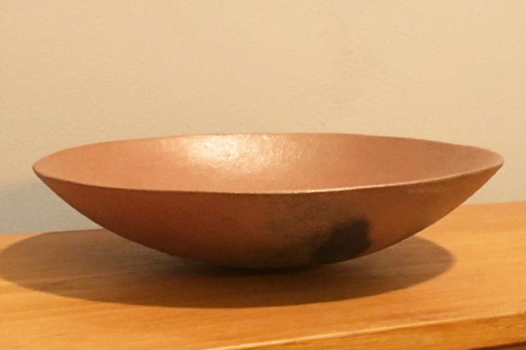 """""""Micaceous Bowl"""". Micaceous clay. 11"""" D x 2.5"""" H. Private Collection. © 2016 Ellza Coyle."""