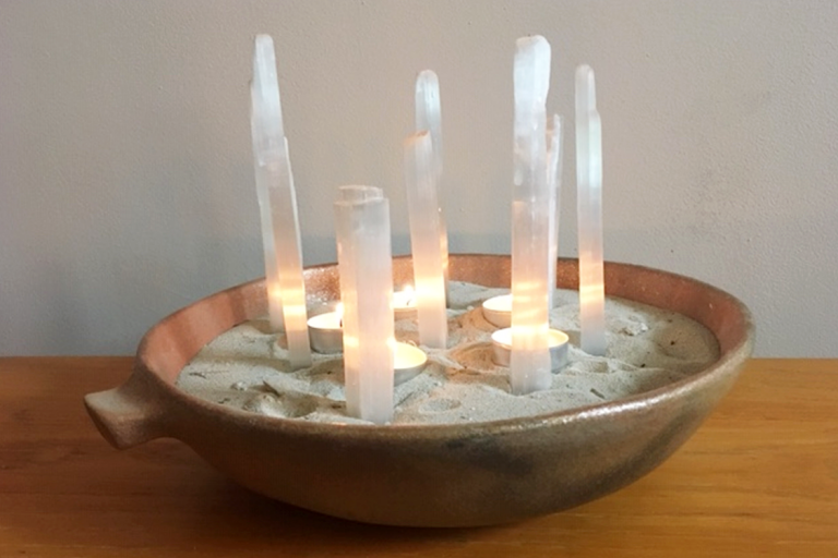 """""""Luminary Lg"""". Micaceous clay, selenite, sand. 3"""" H x 14"""" D"""". Available. © Ellza Coyle."""