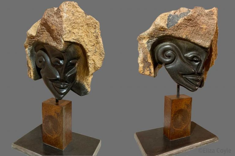 """The Dreaming"" Springstone/Zimbabwe w/ metal base. 12"" H x 6.5"" W x 4.5"" D. Available. © 2020 Ellza Coyle."