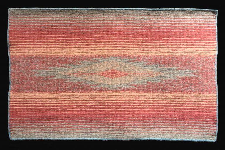 """Smokey Sunset"". Wool. 36"" W x 23"" L. Available. © Ellza Coyle."