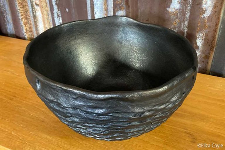 """""""Basket bowl"""" Micaceous Clay. 10"""" D x 5"""" T. Available. © 2021 Ellza Coyle."""