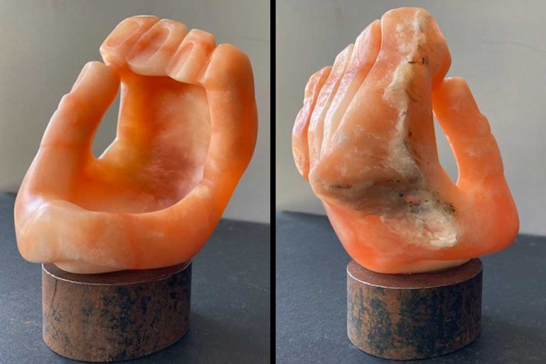 """Holding Space"" Alabaster. 5"" D x 7"" T. Private Collection. © 2021 Ellza Coyle."